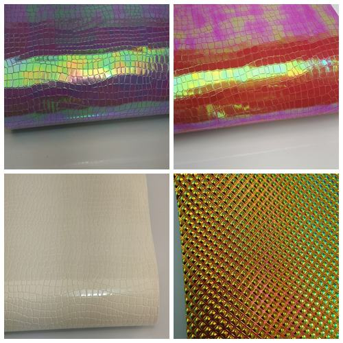 Embossed  Holographic  Leatherette Fabric