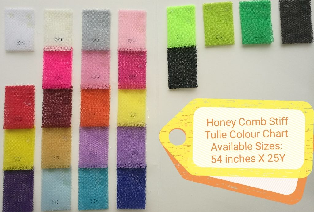 Honey Comb Stiff Tulle Color Chart
