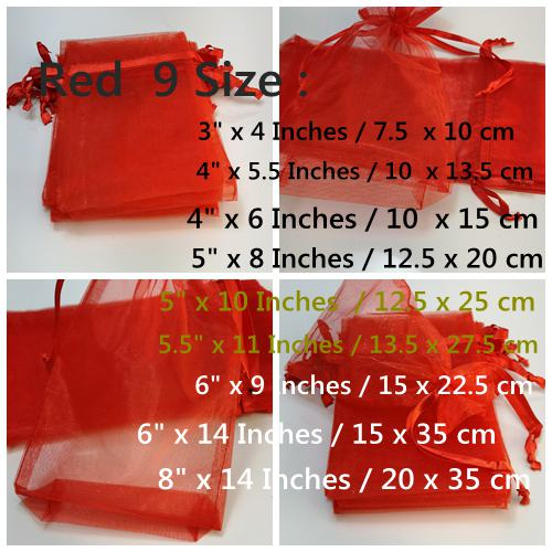 Red Organza Bags in 9 size