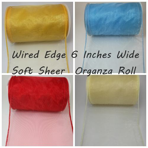 Wired Edge 6 Inches Wide Sheer Organza Roll